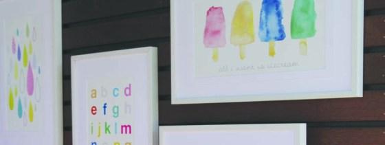Home Decor, Kids Room, Baby Nursery, Themed Nursery, Themed Kids Room, Colourful Prints, Summer Print, Watercolour Print, Icecream Print, abc Print, Framed Print, Wall Art