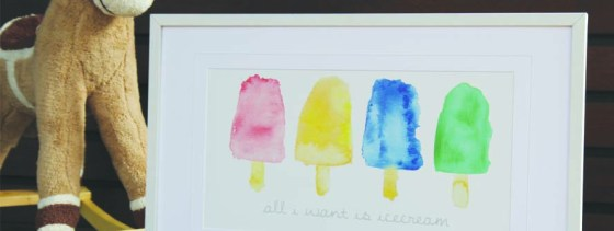 Home Decor, Kids Room, Baby Nursery, Colourful Print, Summer Print, icecream Print, Watercolour Print, Framed Print, Wall Art